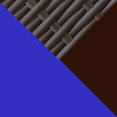 Коричневый, металл / Коричневый, иск. ротанг / Синий, ткань