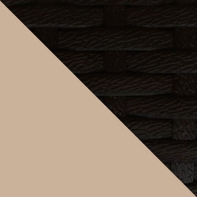 Черный, ротанг / Бежевая подушка