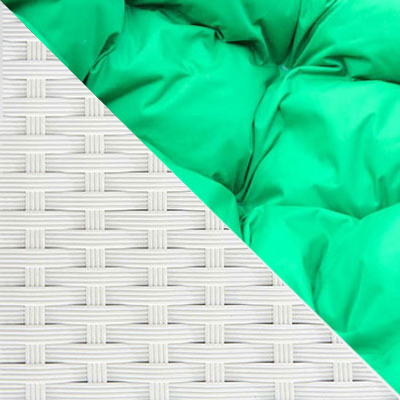 Белый, ротанг / Зеленый, ткань