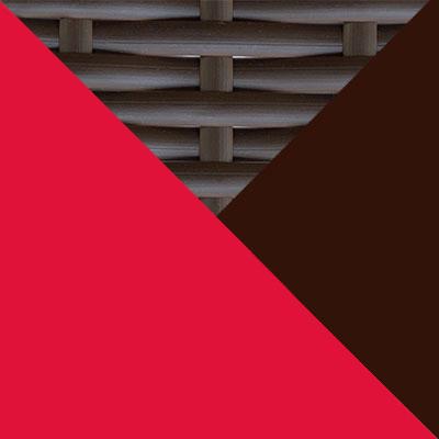 Коричневый, металл / Коричневый, иск. ротанг / Красный, ткань