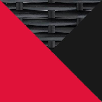 Черный, металл / Черный, иск. ротанг / Красный, ткань
