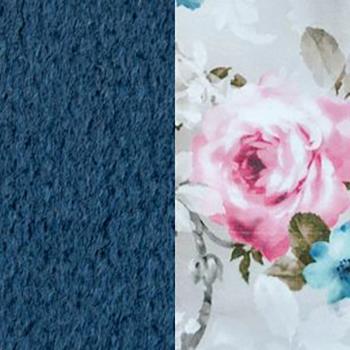Синий / Розы, велюр