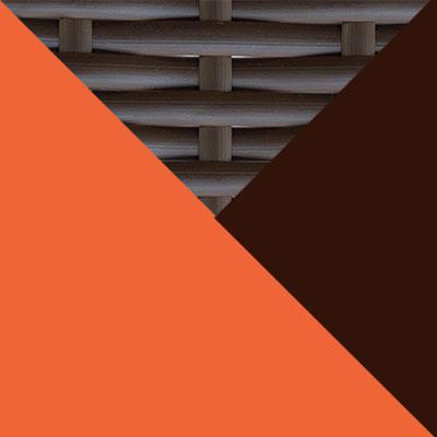 Коричневый, металл / Коричневый, иск. ротанг / Оранжевый, ткань