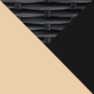Черный, металл / Черный, иск. ротанг / Бежевый, ткань