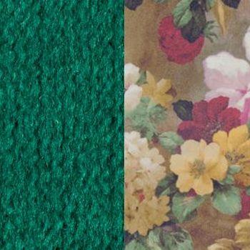 Зеленый / Яркие цветы, велюр