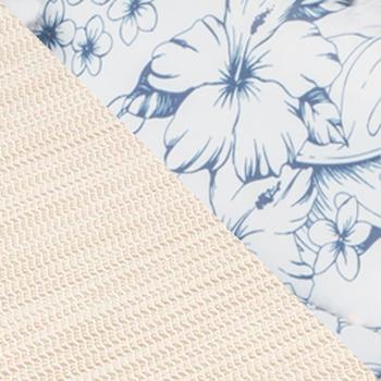 Бежевый, текстилен / Синий, цветы