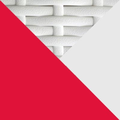 Белый, металл / Белый, иск. ротанг / Красный, ткань