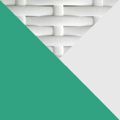 Белый, металл / Белый, иск. ротанг / Зеленый, ткань