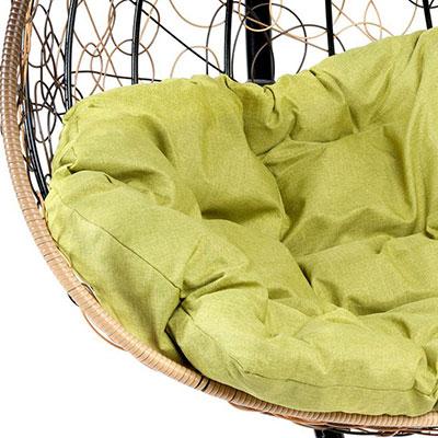 Светло-коричневый, ротанг / Зеленый, ткань