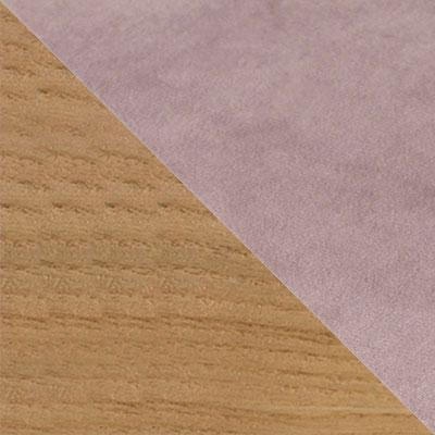 Пыльно-розовый, велюр / Светлое дерево