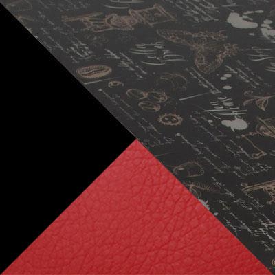 Кофе Хаус / Черный матовый / Экотек красный, экокожа
