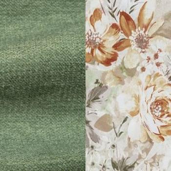 Зеленый / Коричневые цветы, велюр