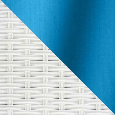 Белый, ротанг / Голубой, ткань