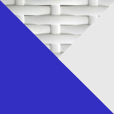 Белый, металл / Белый, иск. ротанг / Синий, ткань