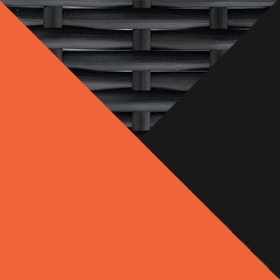 Черный, металл / Черный, иск. ротанг / Оранжевый, ткань
