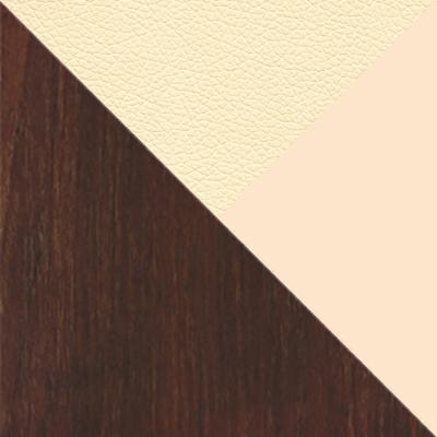 Орех темный / Стекло бежевое матовое / Обивка бежевая экокожа