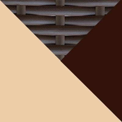 Коричневый, металл / Коричневый, иск. ротанг / Бежевый, ткань