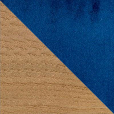 Голубой, велюр / Светлое дерево