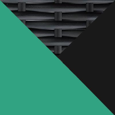 Черный, металл / Черный, иск. ротанг / Зеленый, ткань