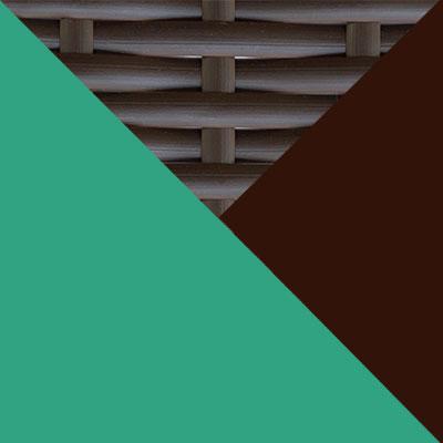 Коричневый, металл / Коричневый, иск. ротанг / Зеленый, ткань
