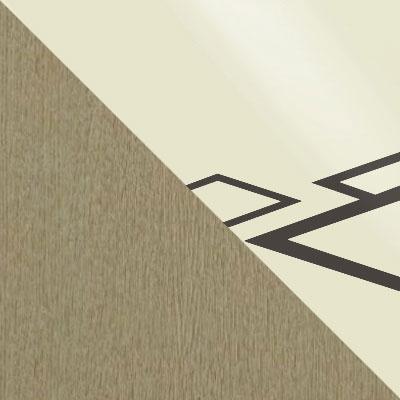 Стекло Молочное, Рисунок Коричневый (квадро) / ЛДСП Дуб выбеленный