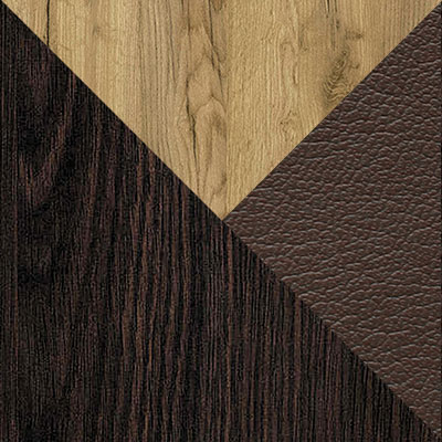 Венге / Дуб Крафт зотолой / Темно-коричневый, кожзам