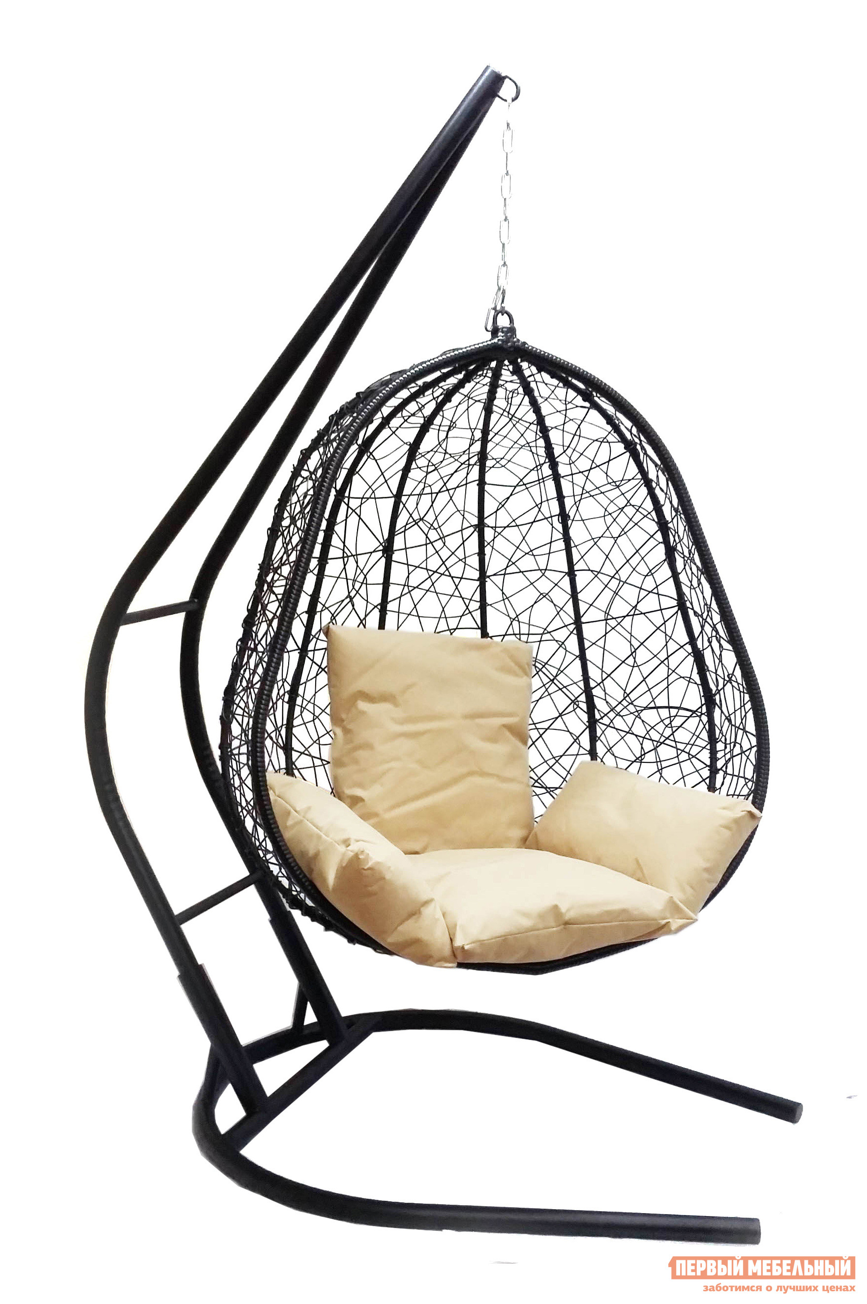 Подвесное кресло Облачный замок Капри XXL черное с бежевой подушкой черное боди athena xxl 3xl