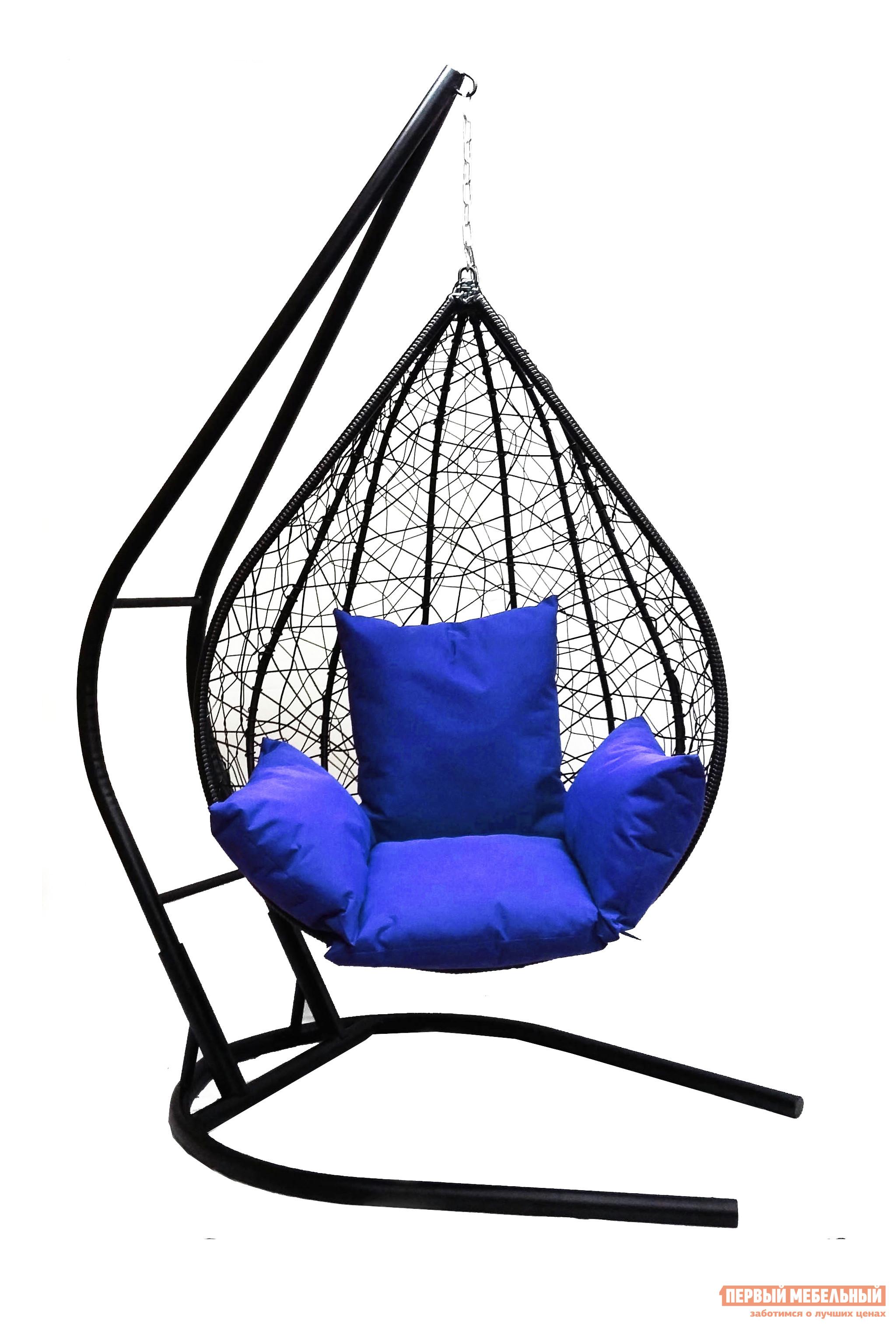 Подвесное кресло Облачный замок Алания черное XXL с синей подушкой черное боди athena xxl 3xl
