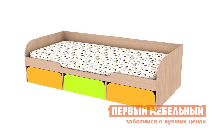 Кровать Мебельсон Сити 4.1 Без матраса, Дуб млечный / Салат / ОранжОдноэтажные кровати<br>Габаритные размеры ВхШхГ 600x2042x842 мм. Кровать с выдвижными ящиками для хранения постельного белья или игрушек.  Размер спального места — 800 Х 2000 мм. Кровать может быть укомплектована матрасом Comfort Simple.  Состав матраса: Обивка - жаккард, пружинный блок, периметр из ППУ.  Наполнение: синтепон, термобонд, ППУ 15 мм, спанбонд. Высота матраса — 17 смРекомендуемый вес — до 70 кг. При оформлении заказа внимательно выбирайте необходимую вам комплектацию.  Изделие выполнено из высококачественной ЛДСП отечественного производства.  Края имеют неопасную округлую форму и обработаны кромкой ПВХ 0. 4 и 1 мм.  Это делает мебель не только безопасной, но и долговечной.  Изделие поставляется в разобранном виде, хорошо упаковано в гофротару.  В комплект входит инструкция.<br><br>Цвет: Дуб млечный / Салат / Оранж<br>Цвет: Оранжевый<br>Цвет: Зеленый<br>Цвет: Светлое дерево<br>Высота мм: 600<br>Ширина мм: 2042<br>Глубина мм: 842<br>Кол-во упаковок: 2<br>Форма поставки: В разобранном виде<br>Срок гарантии: 18 месяцев<br>Тип: Угловые<br>Особенности: С ящиком для белья, С матрасом<br>Возраст: От 3-х лет, Подростковые<br>Пол: Для девочек, Для мальчиков