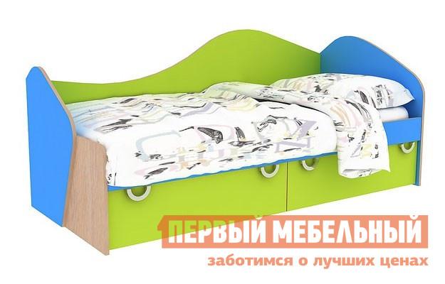 Кровать Мебельсон Маугли (кровать односпальная) Дуб млечный / Голубой / СалатКровати для подростков<br>Габаритные размеры ВхШхГ 870x1950x850 мм. Детская односпальная кроватка, выполненная в ярком оригинальном дизайне. В основании модели есть два вместительных ящика для белья и игрушек. Размер спального места — 800 Х 1900 мм. Матрас в стоимость кровати не входит, его необходимо приобретать отдельно. Изделие выполнено из высококачественной ЛДСП отечественного производства.  Края имеют неопасную округлую форму и обработаны кромкой ПВХ 0. 4 и 1 мм.  Это делает мебель не только безопасной, но и долговечной.  Изделие поставляется в разобранном виде, хорошо упаковано в гофротару.  В комплект входит инструкция.<br><br>Цвет: Дуб млечный / Голубой / Салат<br>Цвет: Зеленый<br>Цвет: Синий<br>Цвет: Светлое дерево<br>Высота мм: 870<br>Ширина мм: 1950<br>Глубина мм: 850<br>Кол-во упаковок: None<br>Форма поставки: В разобранном виде<br>Срок гарантии: 18 месяцев<br>Тип: Стандартная кровать<br>Материал: Деревянные<br>Особенности: Для мальчиков, Для девочек, С ящиками
