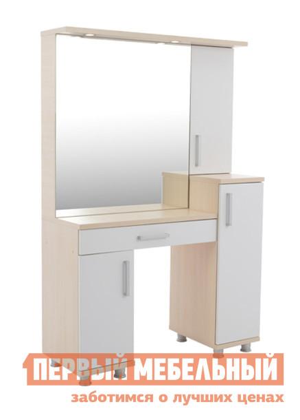 Туалетный столик Мебельсон Мальта (Трюмо) Дуб млечный / БелыйТуалетные столики<br>Габаритные размеры ВхШхГ 1685x1100x441 мм. Туалетный столик для спальной комнаты с геометрическими формами мебельного ансамбля.  Интересный современный дизайн и функциональность. В модели — большое зеркало, несколько шкафчиков и выдвижной ящик, куда можно сложить все, что необходимо иметь под рукой.   Столик оборудован точечной подсветкой.   В комплект входит точечный светильник 20Вт (2 шт. ), провода необходимо покупать отдельно.  Стол не оборудован выключателем.  Чтобы включить освещение, надо вставить вилку в розетку.  Для выключения, соответственно, вытащить вилку из розетки. Модель устанавливается на регулируемые опоры. Обратите внимание! Сборка столика возможна только в том исполнении, как представлено на фото. Изделие производится из ЛДСП толщиной 16 и 25 мм, края обработаны кромкой ПВХ — 0,4 и 1 мм.  В ящике используются шариковые направляющие.<br><br>Цвет: Дуб млечный / Белый<br>Цвет: Белый<br>Цвет: Светлое дерево<br>Высота мм: 1685<br>Ширина мм: 1100<br>Глубина мм: 441<br>Кол-во упаковок: 4<br>Форма поставки: В разобранном виде<br>Срок гарантии: 18 месяцев<br>Материал: Деревянные, из ЛДСП<br>Размер: Большие<br>Особенности: С зеркалом, С ящиками, С тумбой, С полками, С одним зеркалом