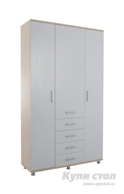 Шкаф распашной Мебельсон Мальта (Шкаф трехстворчатый) Дуб млечный / БелыйШкафы распашные<br>Габаритные размеры ВхШхГ 2328x1350x450 мм. Удобная, вместительная и в тоже время компактная модель трехстворчатого шкафа для спальной комнаты. Две боковые панели — цельные, с открывающимися дверцами, средняя — состоит из нескольких выдвигающихся ящиков и верхней выдвижной панели со штангой для развешивания одежды. Шкаф устанавливается на регулируемые по высоте опоры. Модель входит в модульную серию для спальни. Изделие производится из ЛДСП толщиной 16 и 25 мм, края обрабатываются кромкой ПВХ — 0,4 и 1 мм. В ящиках используются шариковые направляющие, штанга — хромированная.<br><br>Цвет: Белый<br>Цвет: Светлое дерево<br>Высота мм: 2328<br>Ширина мм: 1350<br>Глубина мм: 450<br>Кол-во упаковок: 5<br>Форма поставки: В разобранном виде<br>Срок гарантии: 18 месяцев<br>Тип: Прямые<br>Материал: ЛДСП<br>Размер: Трехдверные<br>С ящиками: Да