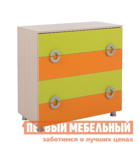 Комод детский Мебельсон Маугли комод Дуб млечный / Салат / Оранж
