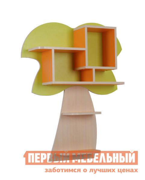 Полка детская Мебельсон Маугли-Пальма (полка) Дуб млечный / Салат / Оранж