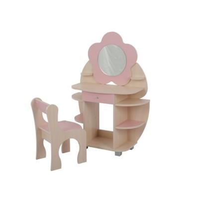 Столик и стульчик Мебельсон Набор Ромашка Дуб млечный / Розовый