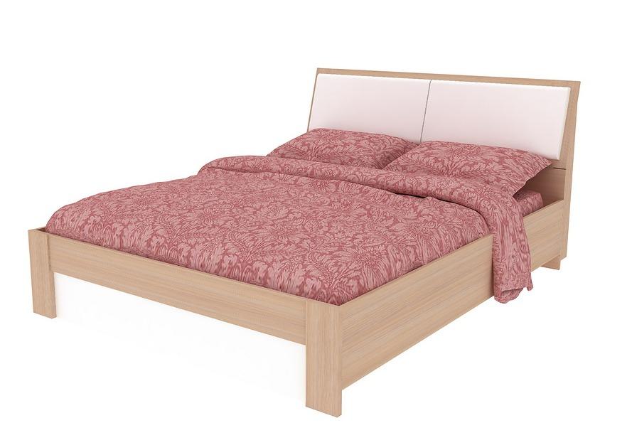 Кровать Мебельсон Мальта 1,4/1,6 Дуб млечный / Белый, Спальное место 1600 X 2000 мм, С матрасом от Купистол