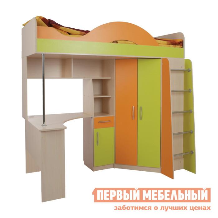 Кровать-чердак Мебельсон Сити 4.2 Дуб млечный / Салат / Оранж, Без матраса