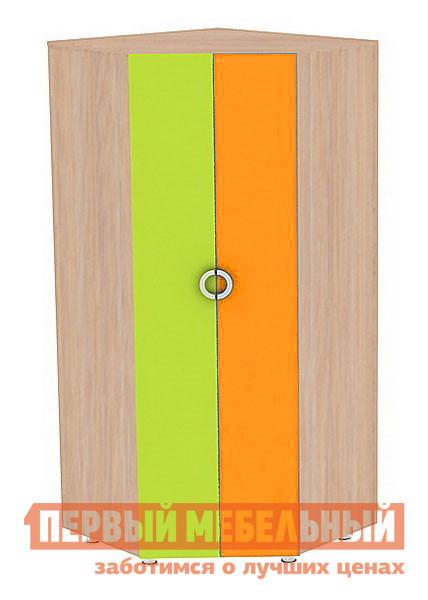 Шкаф детский Мебельсон Маугли (Шкаф угловой) Дуб млечный / Салат / Оранж, Без рисунка