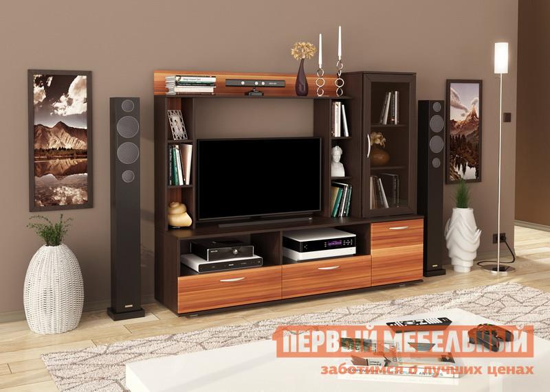 Гостиная Мебельсон Чили Мини Венге / Слива ВаллисСтенки для гостиной<br>Габаритные размеры ВхШхГ 1537x1832x455 мм. Небольшая стильная стенка для гостиной или молодежной квартиры-студии.  При своих компактных размерах модель функциональна и имеет множество отделений для хранения вещей, книг, посуды и прочих мелочей. Центральная ниша позволяет разместить телевизор с диагональю до 42.  Внизу располагаются два выдвижных ящика.  Справа есть небольшой шкаф-витрина, внизу — закрытый шкафчик.  По бокам и в верхней части конструкцией предусмотрены открытые полочки для предметов интерьера или любимых фотографий. Обратите внимание! Стенка собирается только так, как показано на изображении. Изделие выполняется из ЛДСП толщиной 16 мм, края обработаны кромкой ПВХ 0,4 и 1 мм.  Фасад шкафа-витрины — рамочный со вставкой из тонированного стекла 4 мм.  Стенка устанавливается на регулируемые опоры, в ящиках используются роликовые направляющие.<br><br>Цвет: Венге / Слива Валлис<br>Цвет: Венге<br>Цвет: Коричневое дерево<br>Высота мм: 1537<br>Ширина мм: 1832<br>Глубина мм: 455<br>Кол-во упаковок: 2<br>Форма поставки: В разобранном виде<br>Срок гарантии: 18 месяцев<br>Характеристика: Немодульные<br>Материал: Деревянные, из ЛДСП<br>Размер: Маленькие<br>Особенности: Со стеллажом, Со шкафом витриной, С местом под ТВ, С комодом<br>Стиль: Модерн