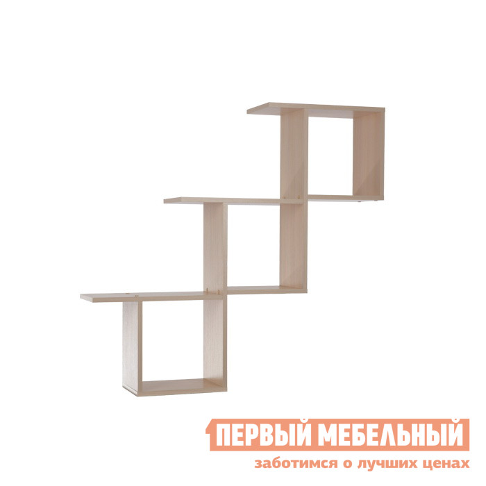 Настенная полка Мебельсон ПН-3 Дуб МлечныйНастенные полки<br>Габаритные размеры ВхШхГ 1000x1070x216 мм. Полка выполнена в виде лестницы с удобными ограниченными отсеками.  На верхней части вы сможете разместить более громоздкие предметы интерьера, цветы. Размер одного квадрата: ширина 284 мм, высота 300 мм. Модель универсальна по сборке. Изделие выполнено из ЛДСП толщиной 16 мм.  Края отделаны кромкой ПВХ 0,4 мм.<br><br>Цвет: Дуб Млечный<br>Цвет: Светлое дерево<br>Высота мм: 1000<br>Ширина мм: 1070<br>Глубина мм: 216<br>Кол-во упаковок: 1<br>Форма поставки: В разобранном виде<br>Срок гарантии: 18 месяцев<br>Тип: Открытые<br>Материал: из ЛДСП