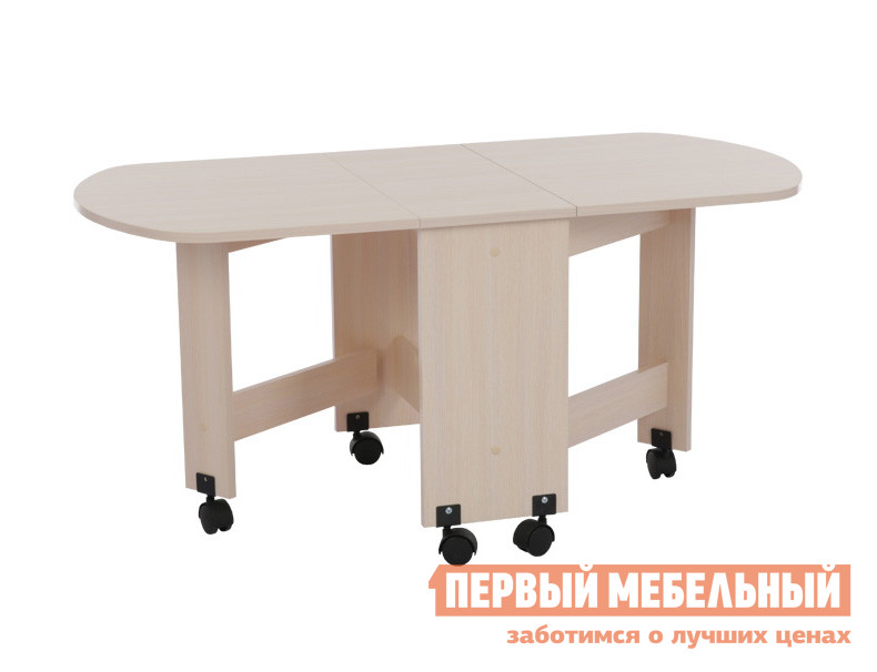 Журнальный столик Мебельсон Стол журнальный  Дуб МлечныйЖурнальные столики<br>Габаритные размеры ВхШхГ 551x282 / 1992x602 мм. Функциональный журнальный столик раскладывается по принципу стола-книжки.  Модель будет полезной деталью в гостиной, в спальне, в детской комнате или в дачном домике.  В сложенном состоянии ширина тумбы составляет 282 мм. Столик можно разложить полностью, подняв оба крыла, и тогда ширина столешницы будет 1200 мм.  Конструкция также позволяет использовать модель в полуразложенном состоянии, ширина столешницы будет — 737 мм. Столик оборудован колесиками для удобного перемещения его по комнате. Изделие выполнено из ЛДСП толщиной 16 мм.  Края обработаны кромкой ПВХ 0. 4 и 1 мм.<br><br>Цвет: Дуб Млечный<br>Цвет: Светлое дерево<br>Высота мм: 551<br>Ширина мм: 282 / 1992<br>Глубина мм: 602<br>Кол-во упаковок: 1<br>Форма поставки: В разобранном виде<br>Срок гарантии: 18 месяцев<br>Назначение: Для гостиной<br>Материал: из ЛДСП<br>Форма: Прямоугольные<br>Размер: Маленькие, Большие<br>Высота: Высокие<br>Особенности: На колесиках<br>Стиль: Классический