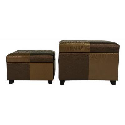 Банкетка МебельТорг 2553 Коричневая / золотая экокожа, Большой