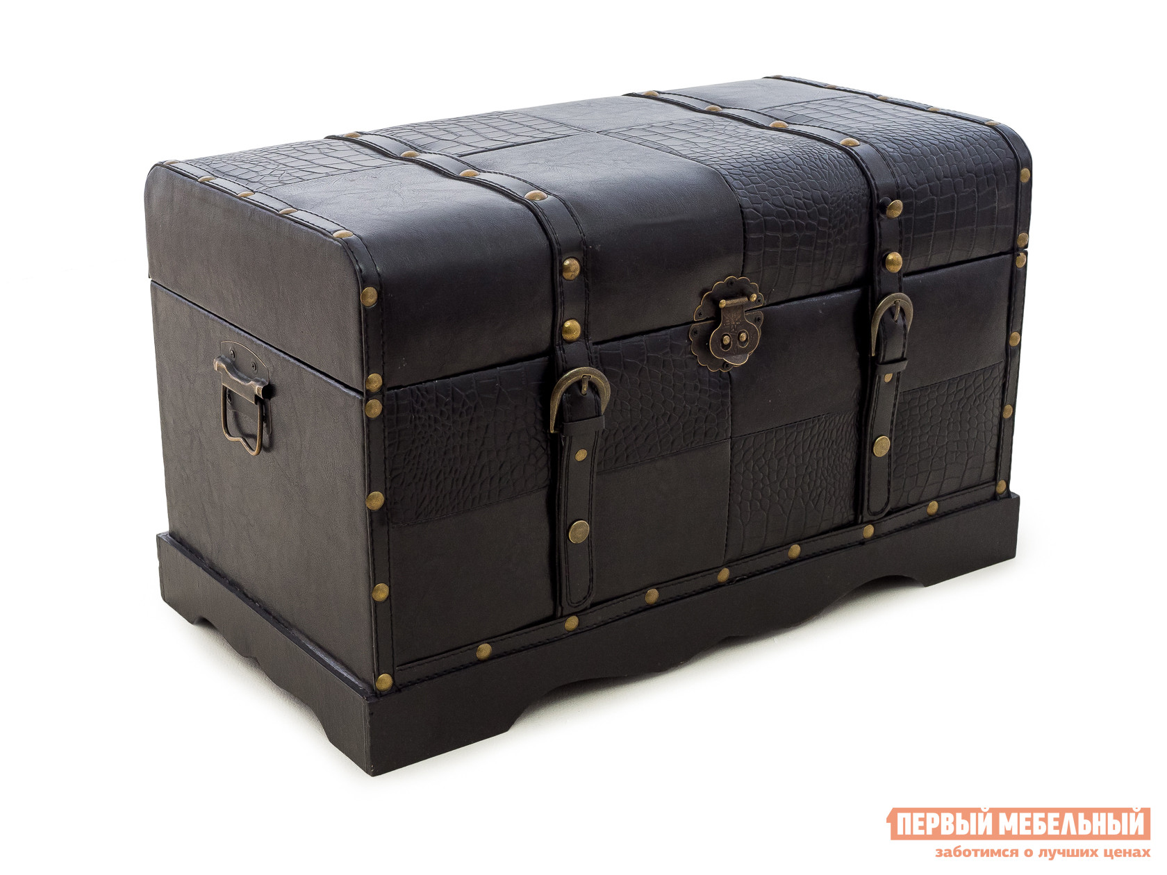 Банкетка МебельТорг 2555 L/M/S Малый, Черная «змеиная» экокожа
