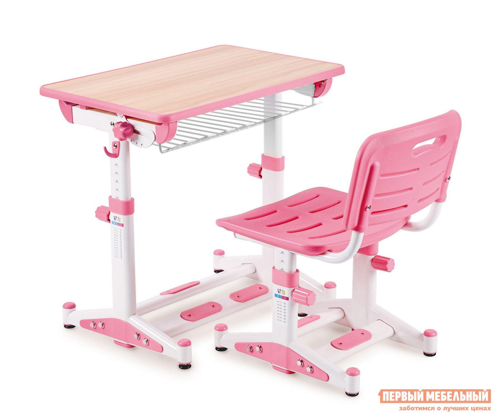 Парта Libao LK-09 Розовый Libao Габаритные размеры ВхШхГ 520 / 760x700x510 мм. Современный и эргономичный комплект для школьных занятий позволит на долгое время обеспечить ребенка правильной мебелью.  Яркое оформление изделий понравится детям и даже самые сложные уроки будут в радость.  Ортопедические спинка и сиденье стула разработаны так, чтобы сохранить правильную и красивую осанку ребенка с ранних лет. <br><br>Размер стола: 520 / 760 х 700 х 510 мм. <br>Размер стула: 300 / 440 х 380 х 340 мм. <br><br>Стульчик и парта регулируются по высоте.  Под столешницей расположена полочка для книг и тетрадей.  Угол наклона столешницы регулируется в диапазоне от 10 до 45 градусов, помогая настроить ее для различных целей: чтения, письма или рисования.   Стул оснащен решетчатыми сиденьем и спинкой для оптимальной вентиляции. <br>Столешница выполнена из МДФ.  Стул и парт изготовлены из стальной трубы и экологически чистого полипропилена. <br>