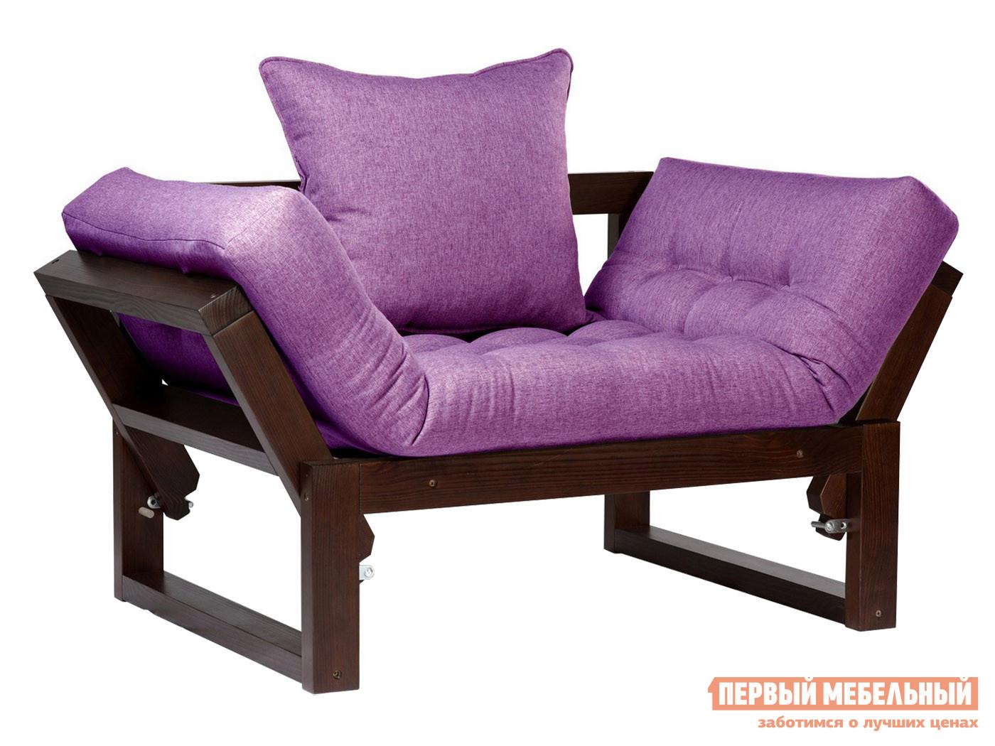 Кресло  Кресло Амбер (сосна) Орех, Фиолетовый, рогожка — Кресло Амбер (сосна) Орех, Фиолетовый, рогожка