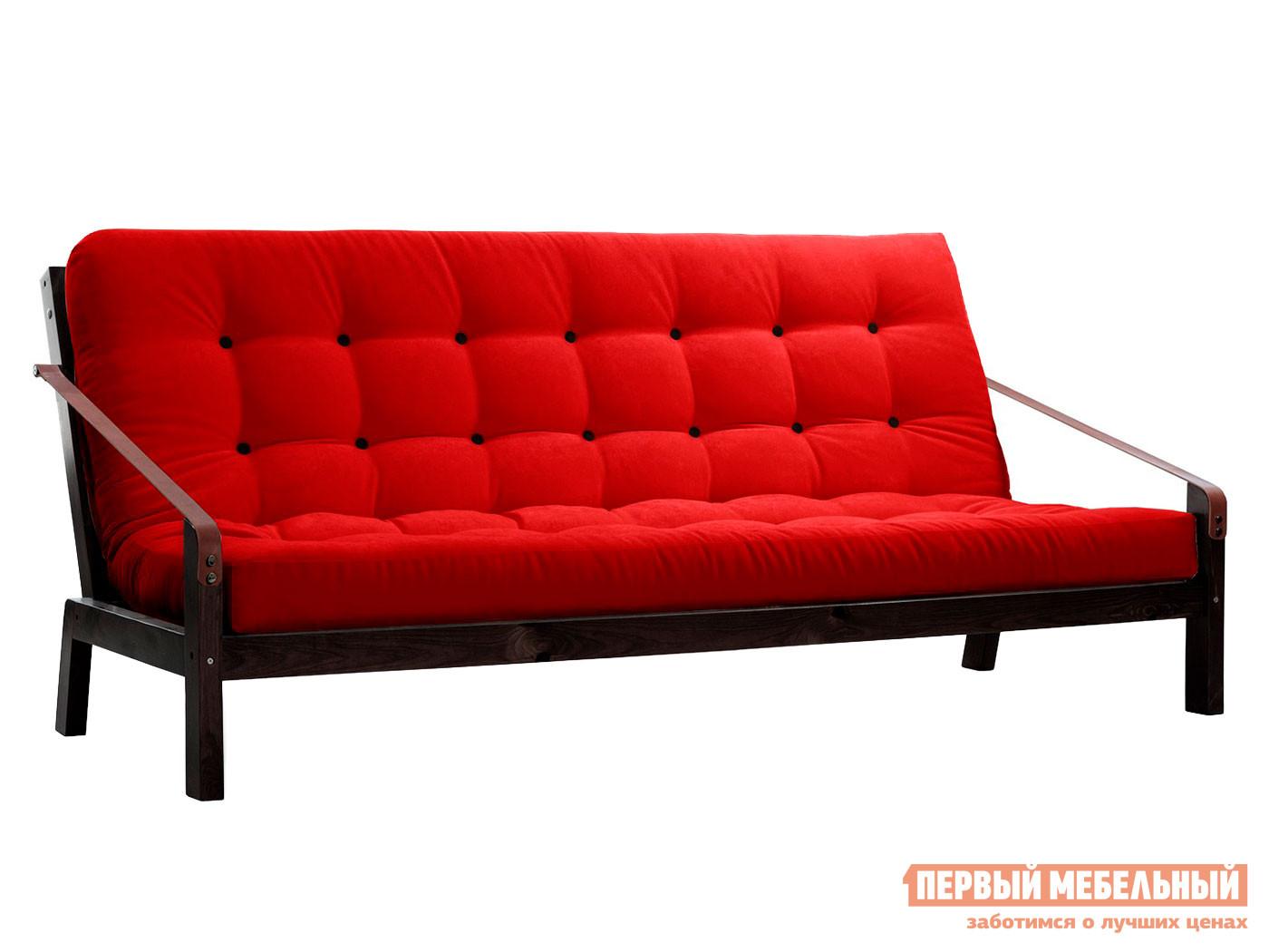 Прямой диван  Локи сосна венге Красный, вельвет — Локи сосна венге Красный, вельвет