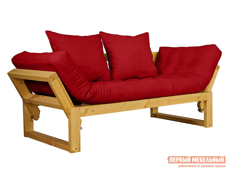Прямой диван  Амбер Сосна натуральная, Красный, вельвет