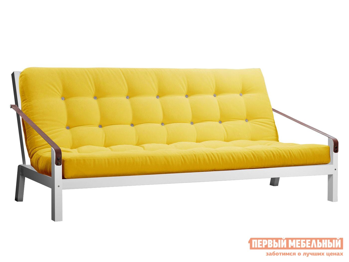 Прямой диван  Локи сосна белая эмаль Лимонный, вельвет