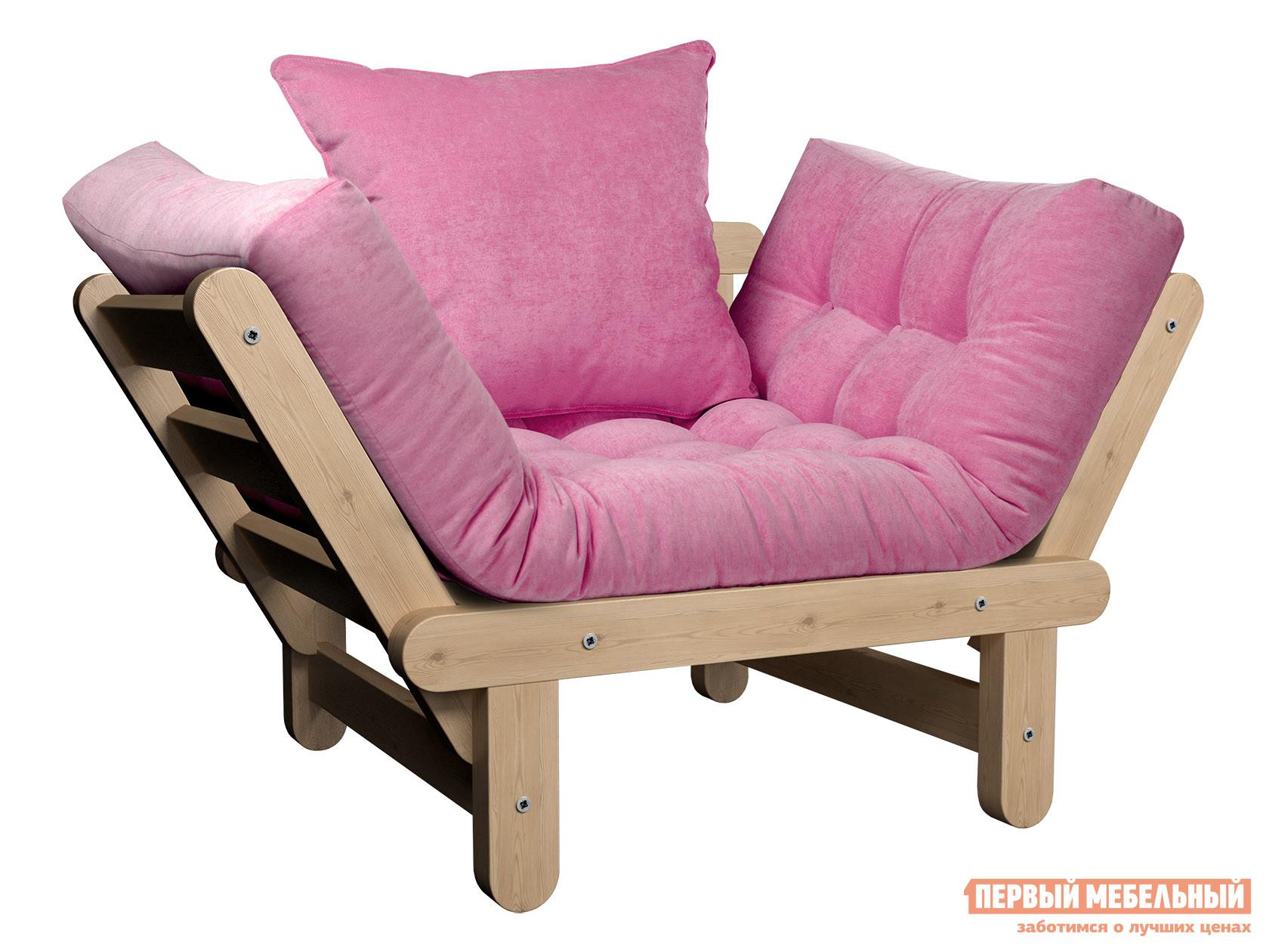 Садовое кресло  Кресло Сламбер Сосна натуральная, Розовый, вельвет — Кресло Сламбер Сосна натуральная, Розовый, вельвет