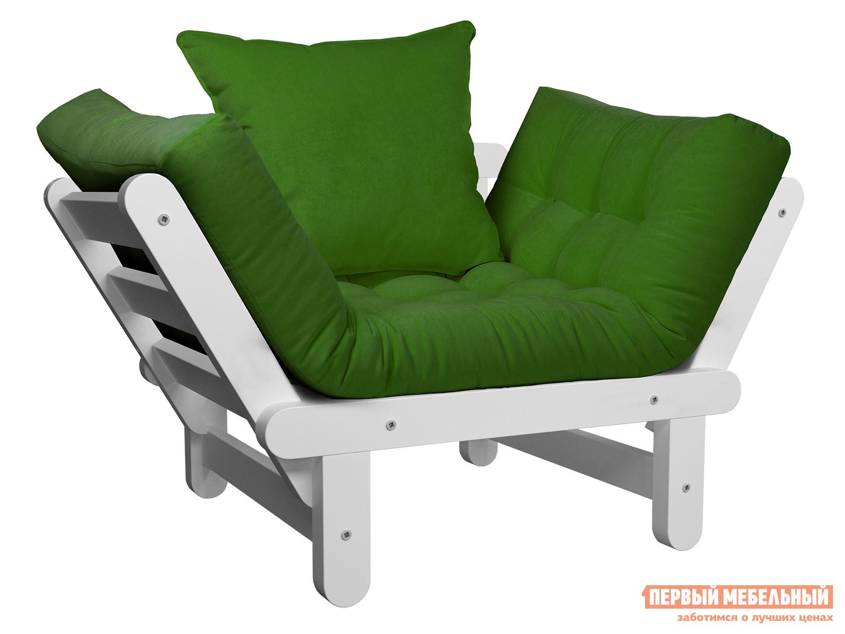 Садовое кресло  Кресло Сламбер Зеленый, вельвет, Белая эмаль — Кресло Сламбер Зеленый, вельвет, Белая эмаль